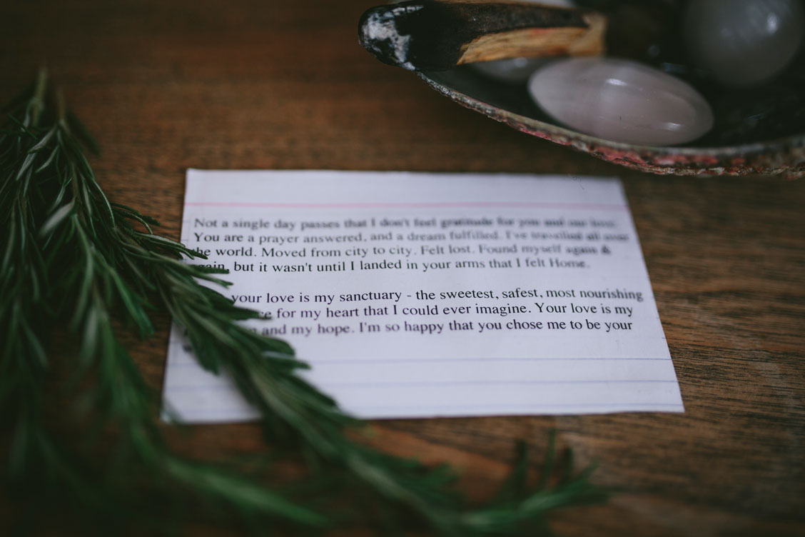 Bride's vows for Stinson Beach wedding by Becca Henry Photography