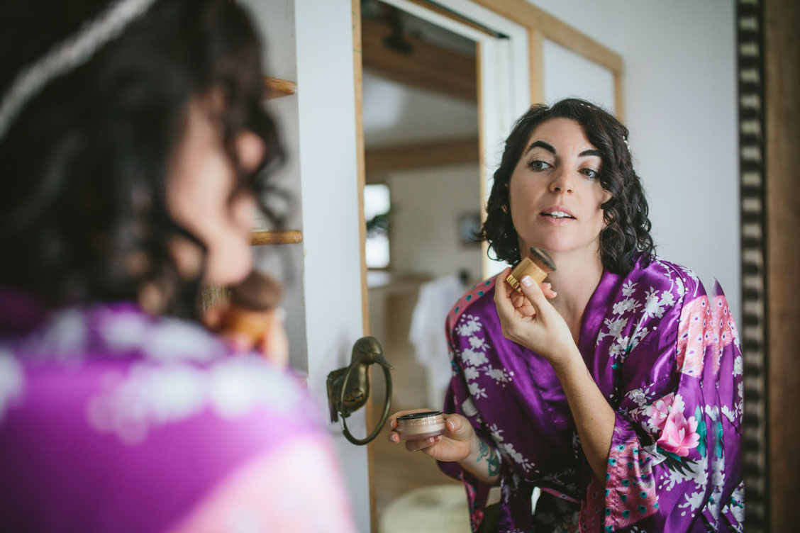 Bride getting ready at Stinson Beach Wedding by Becca Henry Photography