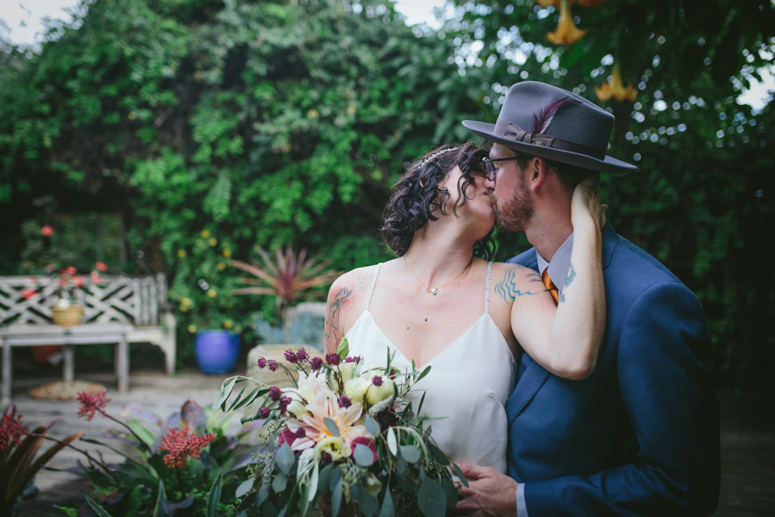 Passionate kiss at Stinson Beach Wedding by Becca Henry Photography