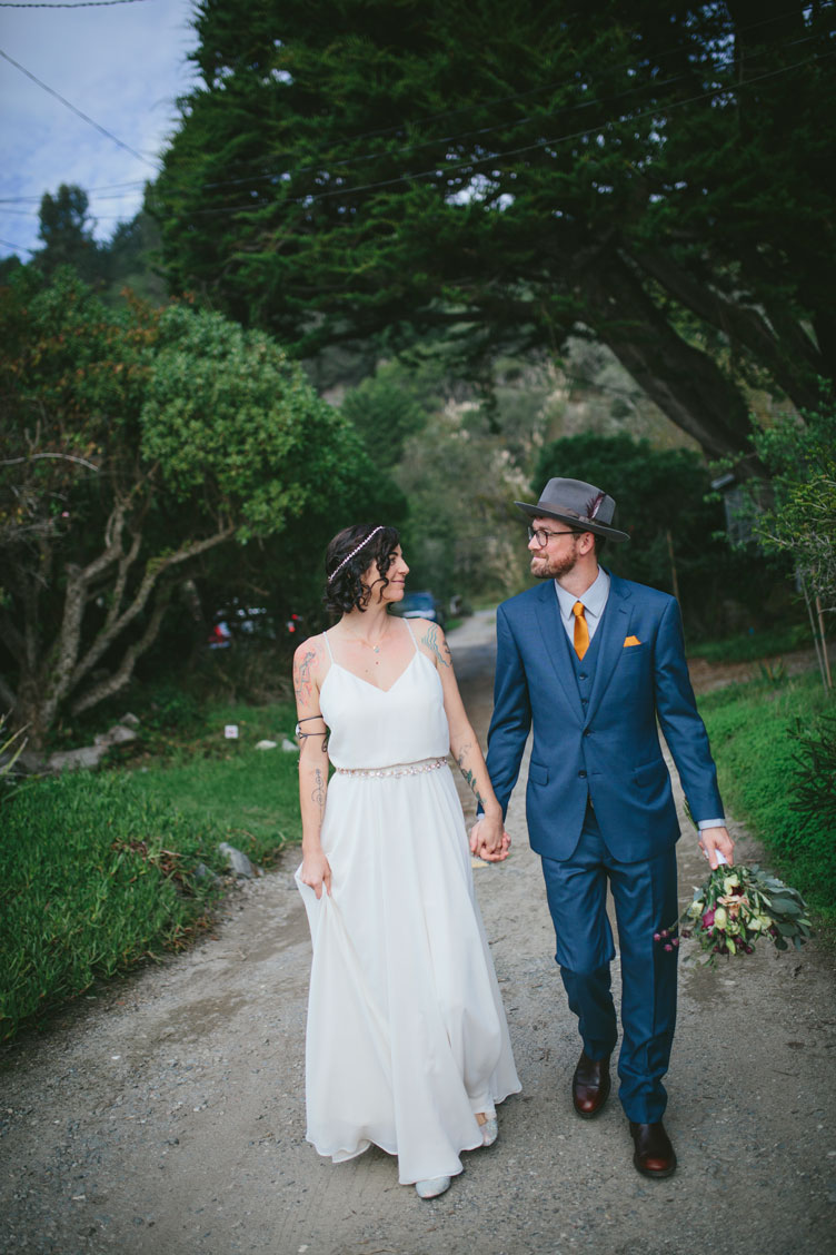 Taking a stroll at DIY wedding by Becca Henry Photography