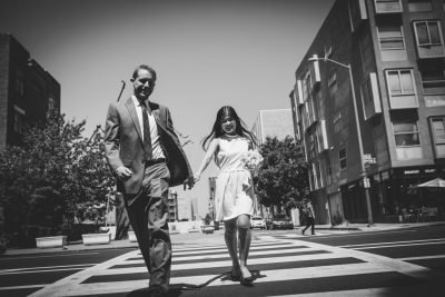 Oakland wedding couple in the crosswalk by Becca Henry Photography