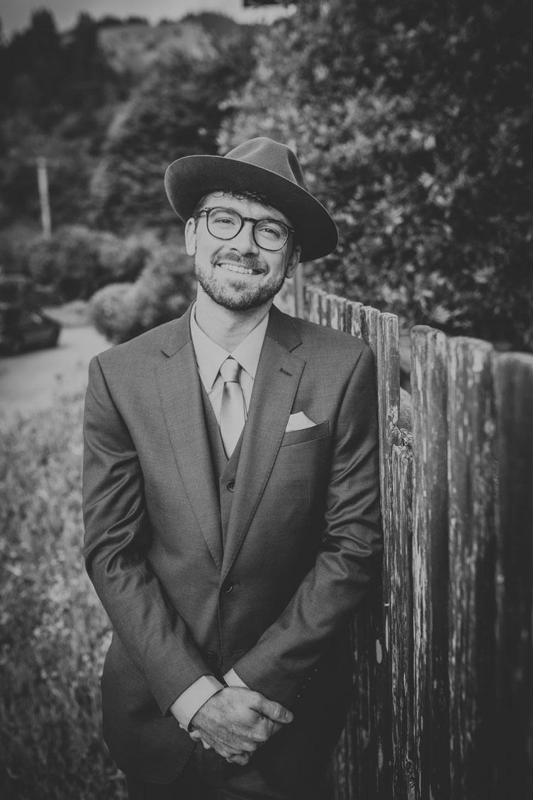 Portrait of groom for DIY California beach wedding by Becca Henry Photography