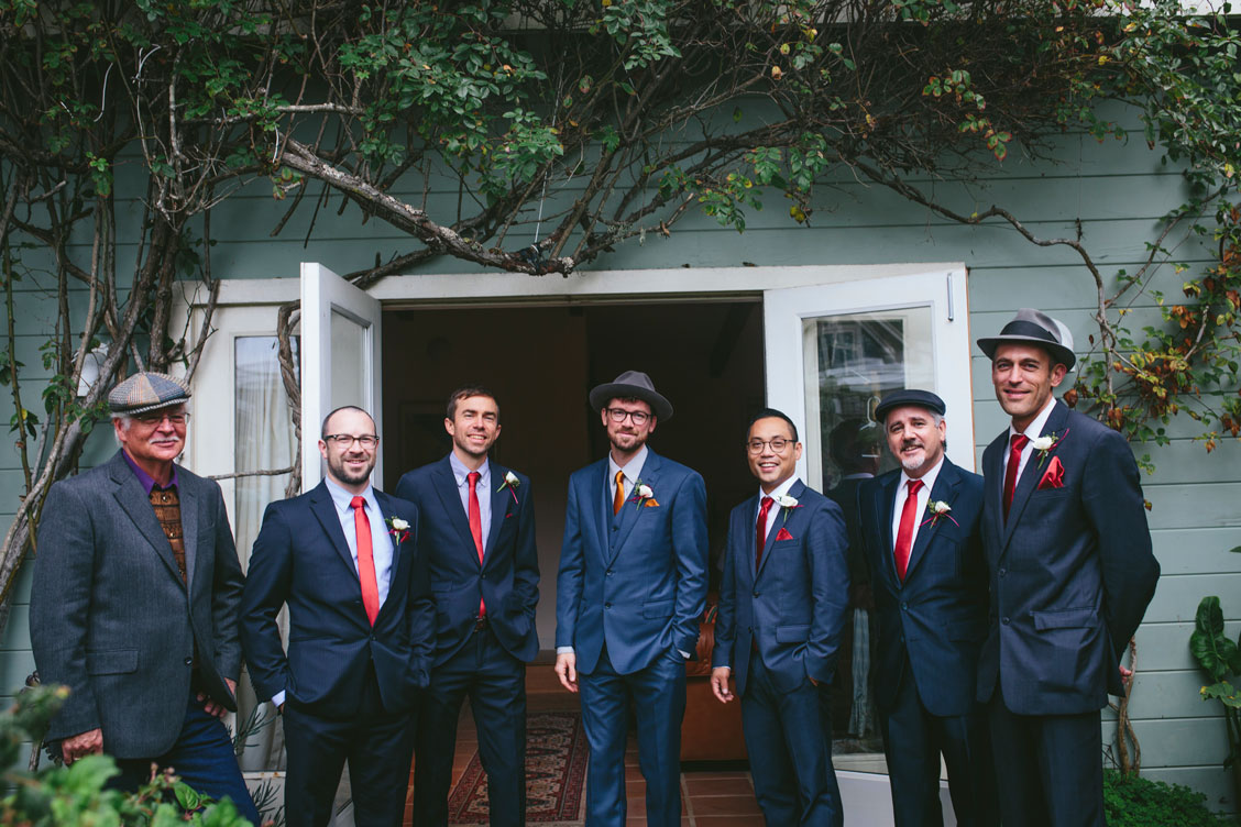 Portrait of groom and groomsmen for Stinson Beach wedding by Becca Henry Photography