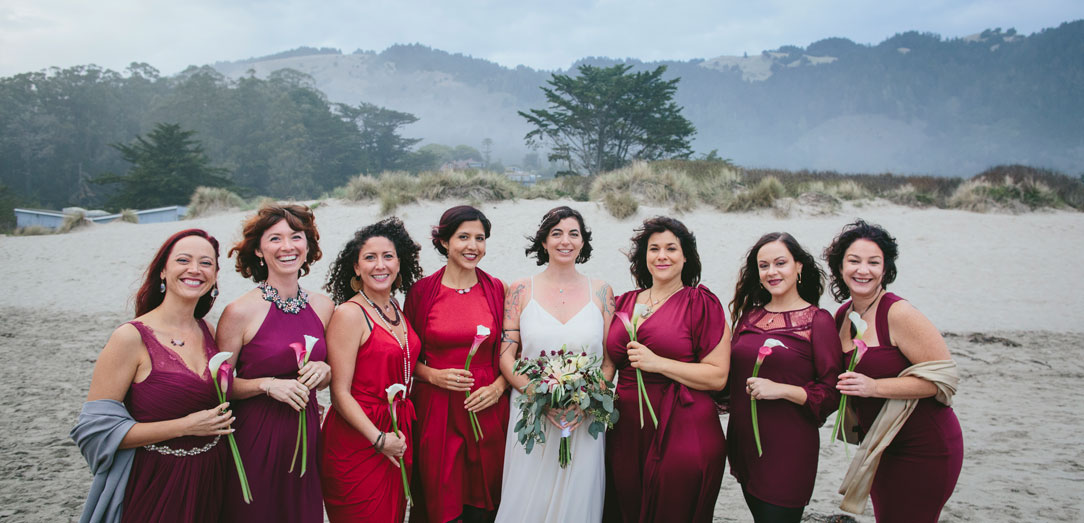 Bridal party photo on foggy beach at Stinson Beach Wedding by Becca Henry Photography