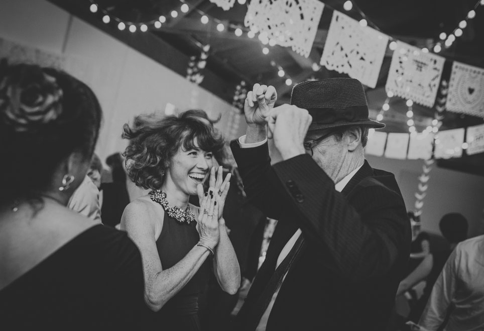 Family of groom dancing at Stinson Beach Wedding by Becca Henry Photography