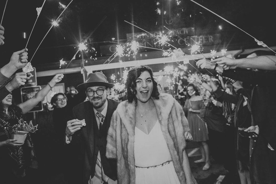 Wedding sparkler exit at Stinson Beach wedding by Becca Henry Photography.