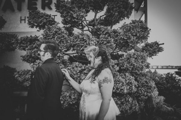 BW image of first look at the Waterfront Hotel, Joie de Vivre by Becca Henry Photography