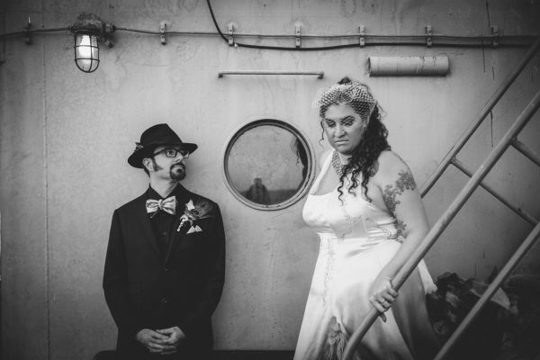 BW, Moody portrait of the bride and groom on the SS Red Oak Victory by Becca Henry Photography