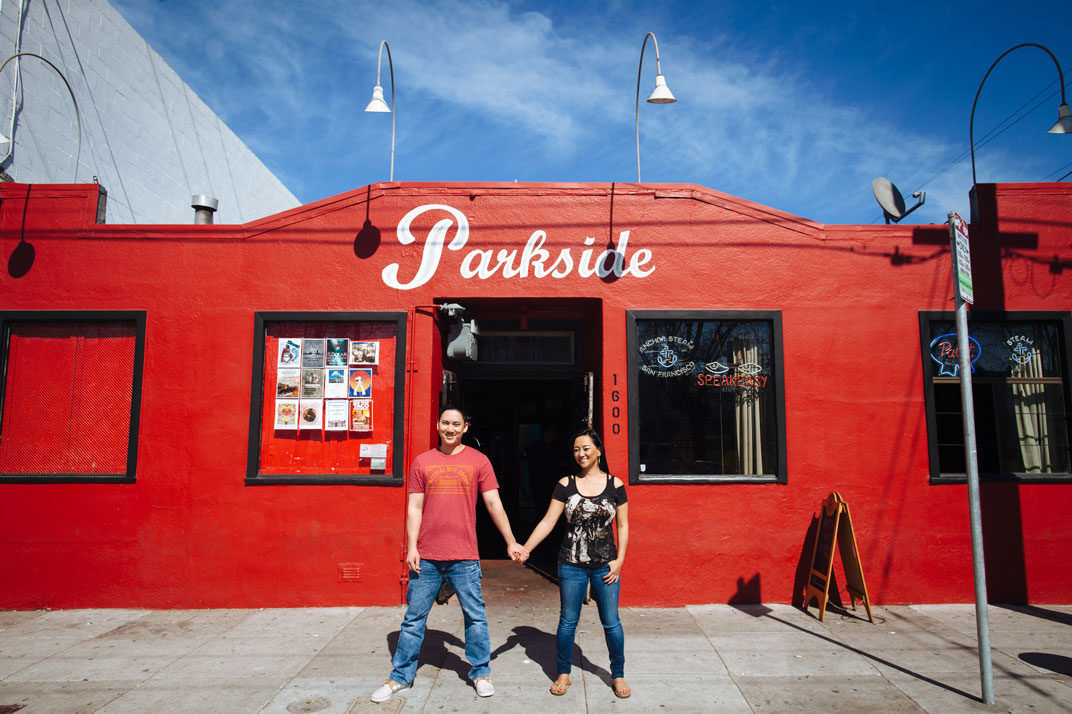 San Francisco - colorful, playful engagement photography in Potrero Hill in front of the Parkside by Becca Henry Photography