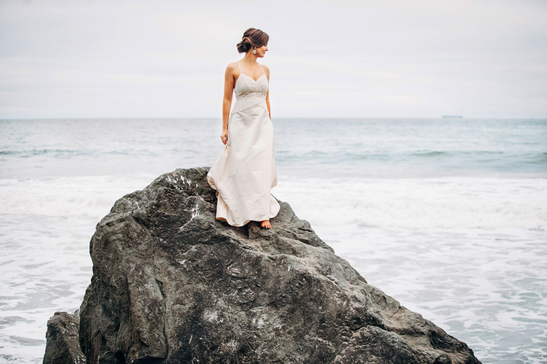 Portrait of bride on beach- Becca Henry Photography