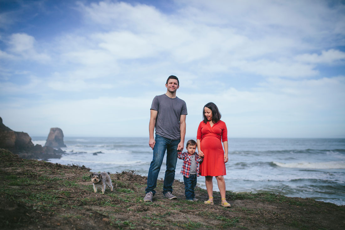 Family on cliff side in Pacifica by Becca Henry Photography