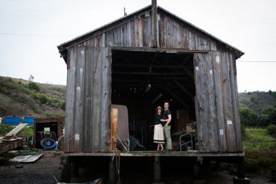 Bay Area engagement session in old barn on the waterfront by Becca Henry Photography