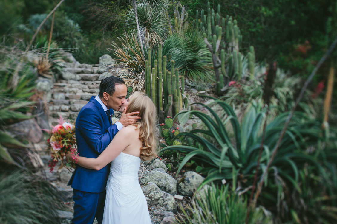 Wedding couple kisses in the cactus garden at Berkeley Botanical Garden by Becca Henry Photography