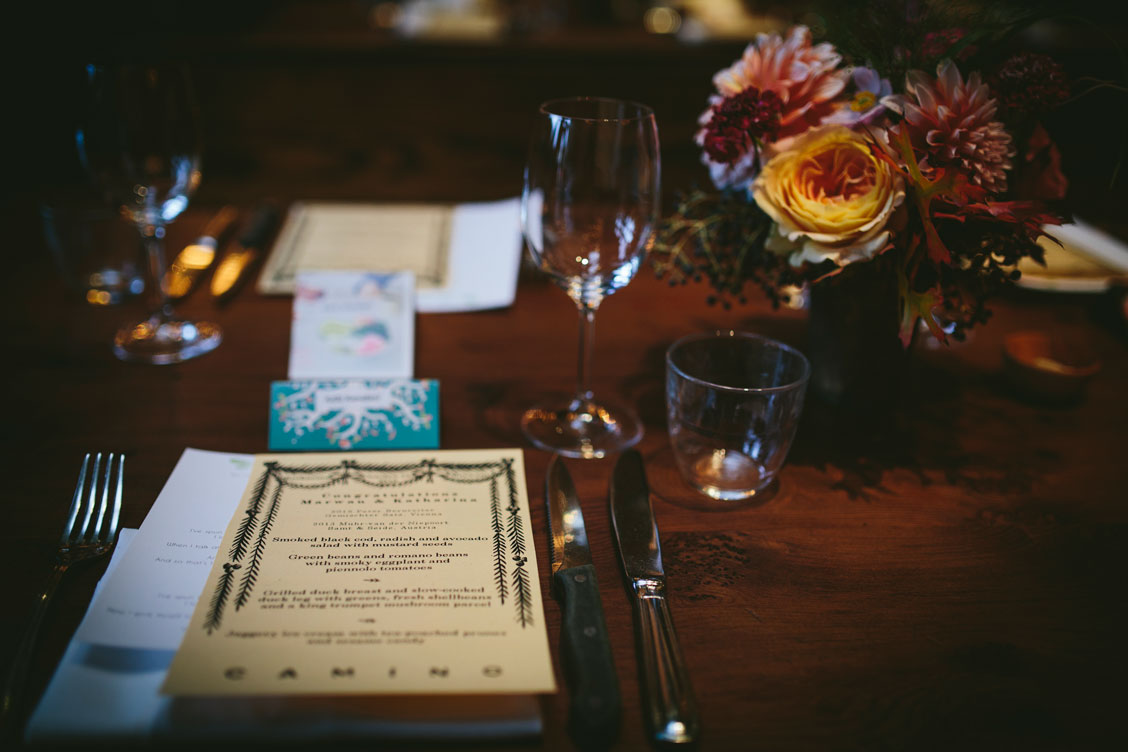 Table arrangement at wedding reception at Oakland venue, El Camino by Becca Henry Photography