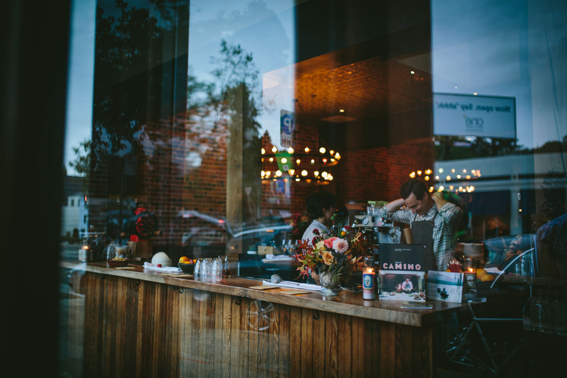 Window reflection at wedding reception at Oakland venue, El Camino by Becca Henry Photography