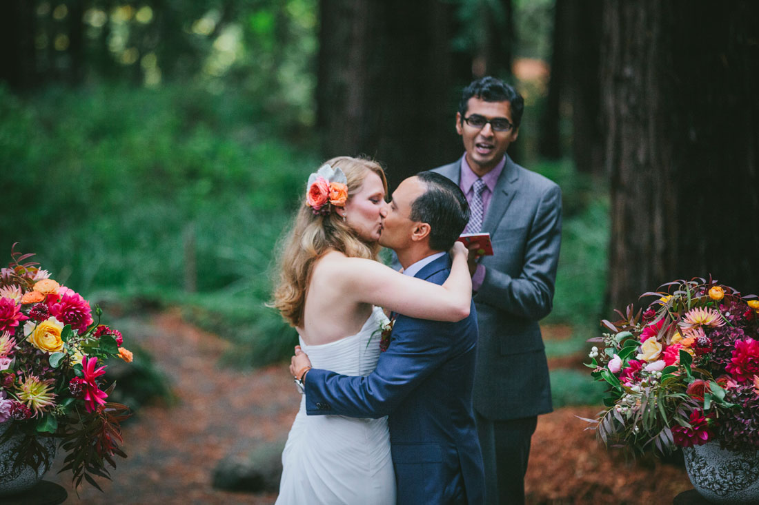 The kiss at Redwood Grove wedding by Becca Henry Photography