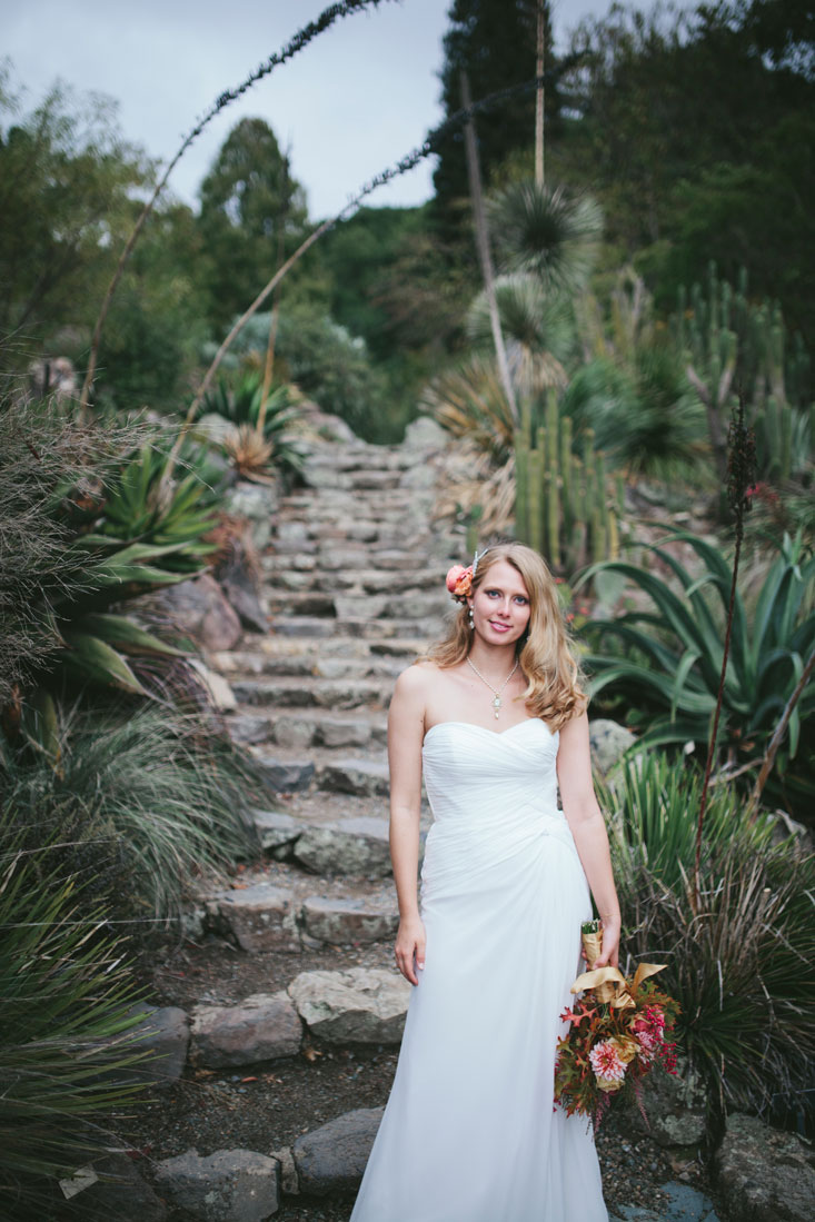 Bride with bouquet at Berkeley Botanical Garden Wedding by Becca Henry Photography