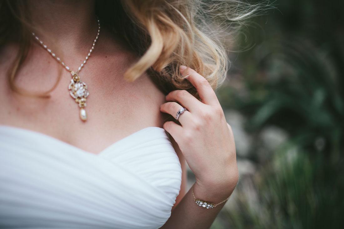 Bride's jewelry at Berkeley Botanical Garden wedding by Becca Henry Photography
