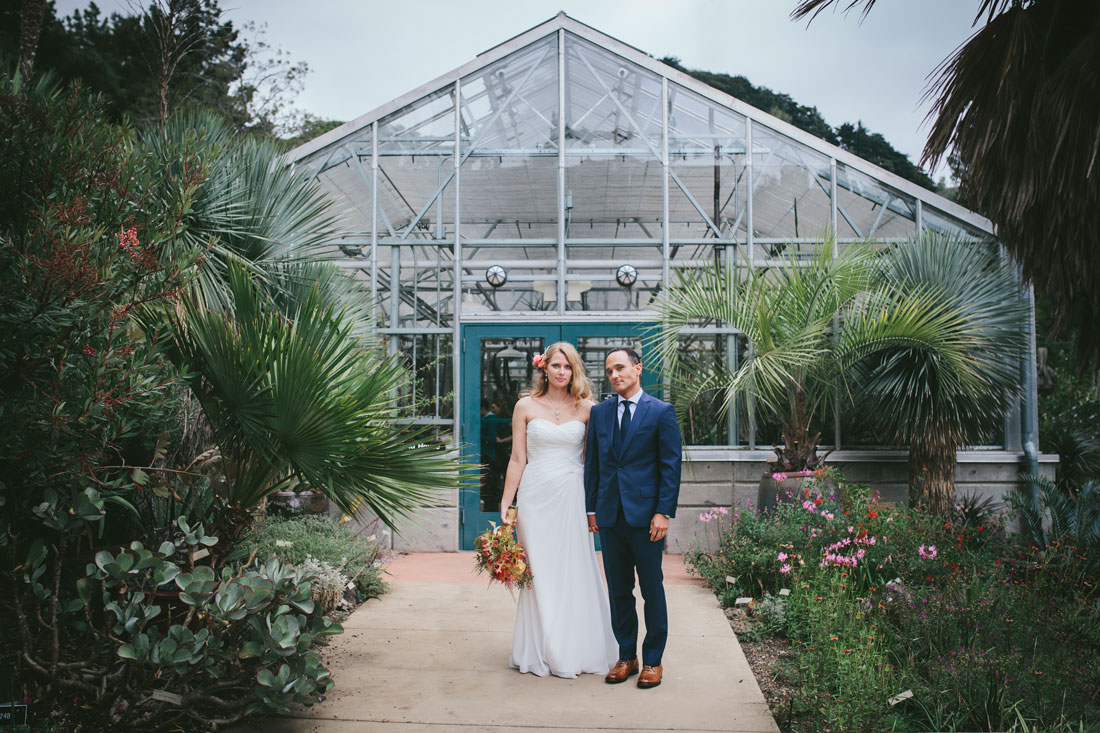 Berkeley Botanical Garden- portrait of couple in front of green house- Becca Henry Photography