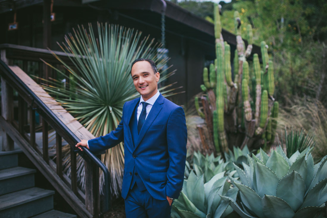 Portrait of groom at Berkeley Botanical Garden by Becca Henry Photography