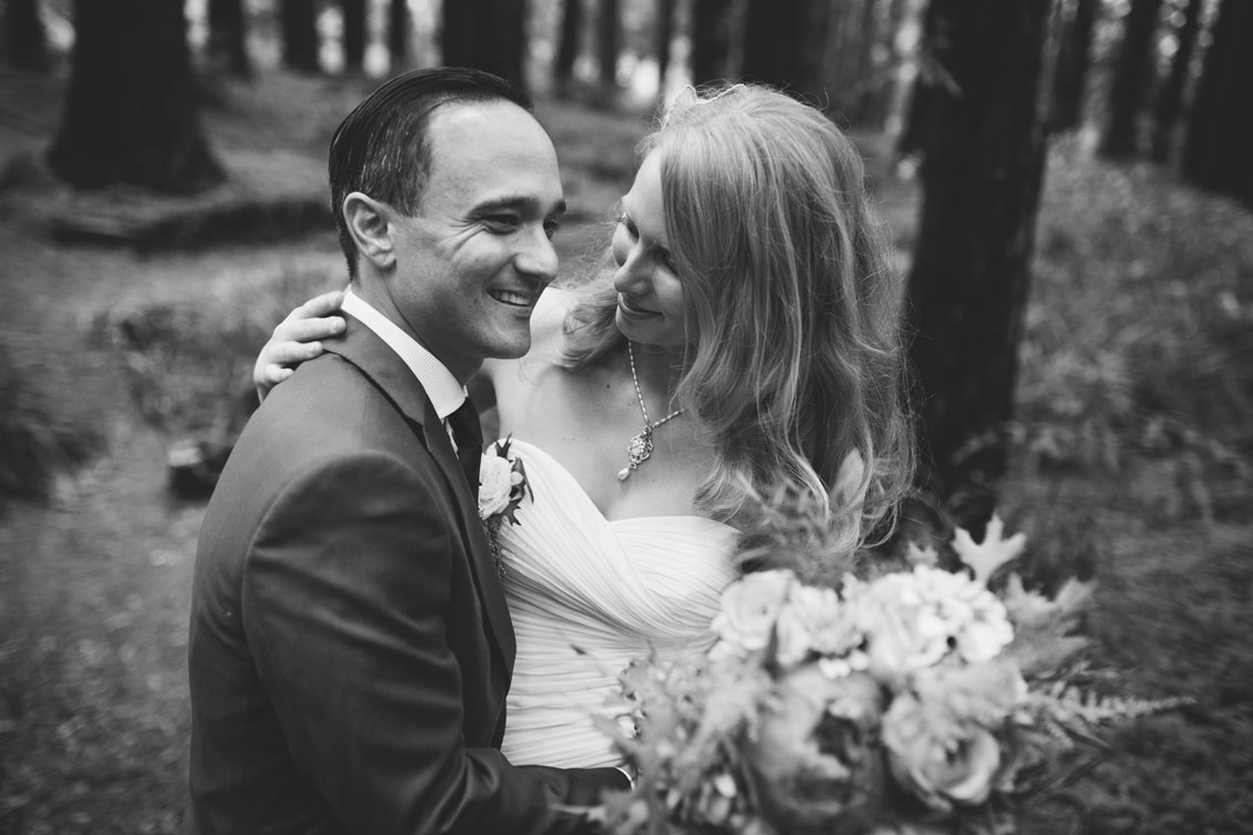Bride and groom in Redwood Grove at Berkeley Botanical Garden by Becca Henry Photography