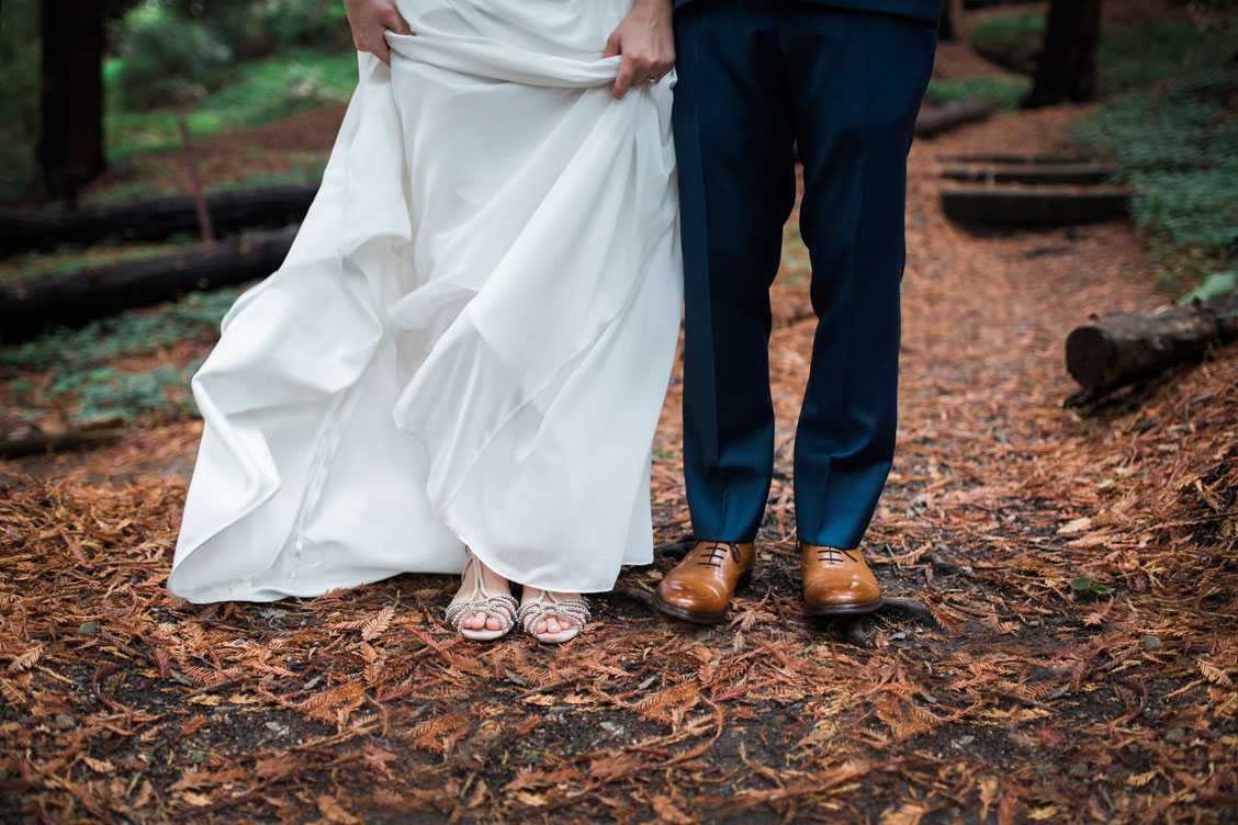 Bride and groom's shoes at at Berkeley Botanical Garden by Becca Henry Photography