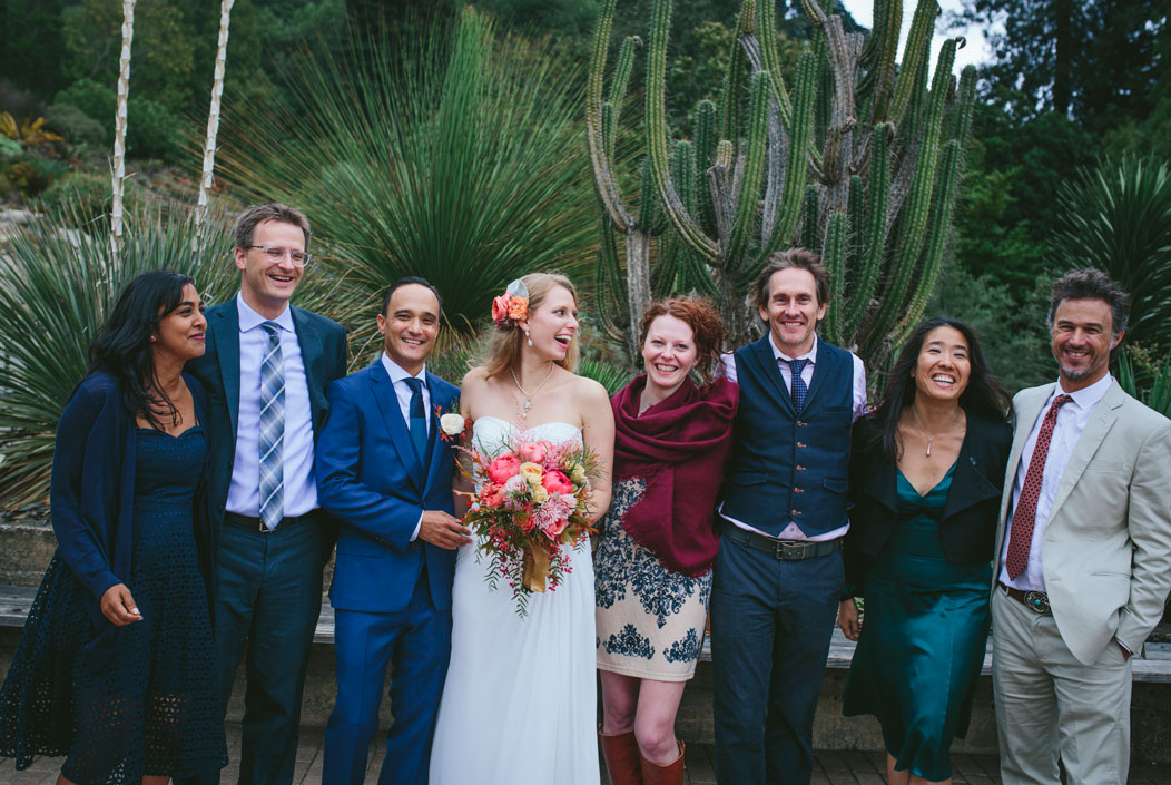Friends of the bride and groom in Berkeley Botanical Garden by Becca Henry Photography