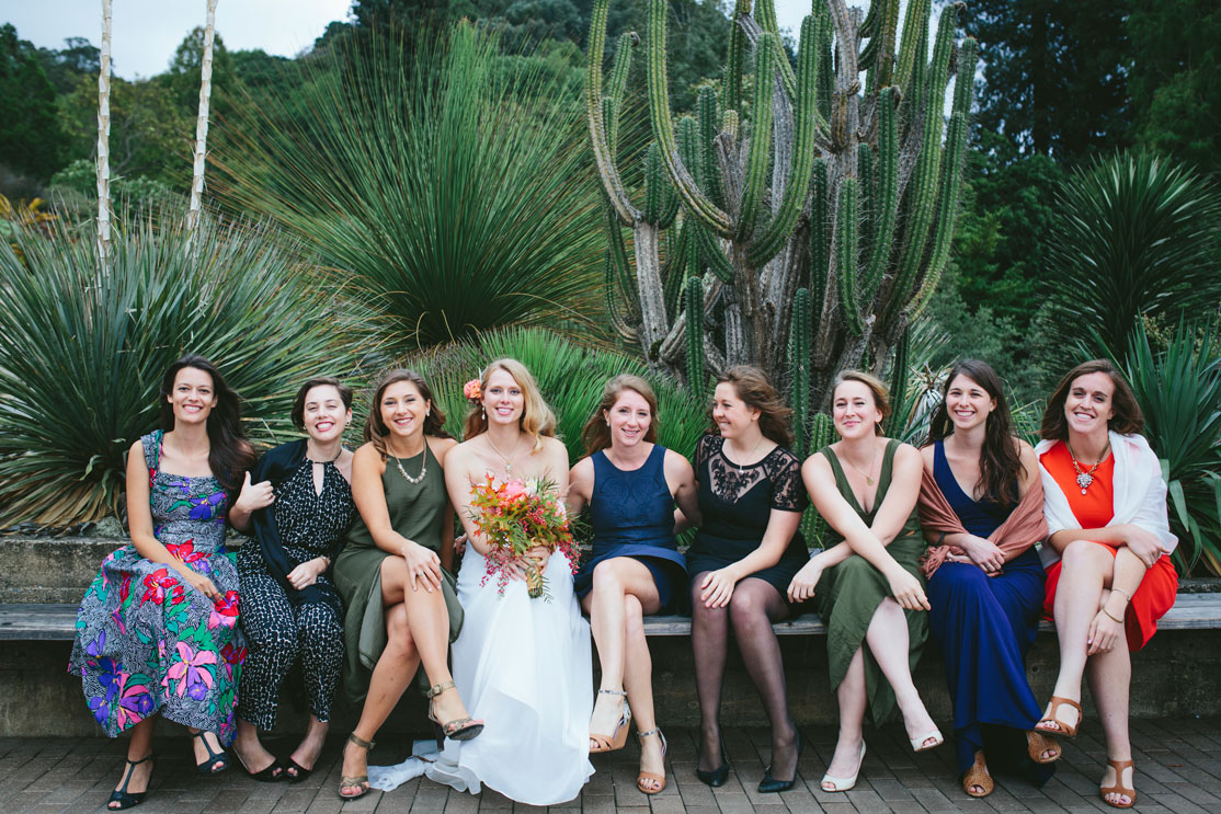 Friends of the bride in Berkeley Botanical Garden by Becca Henry Photography