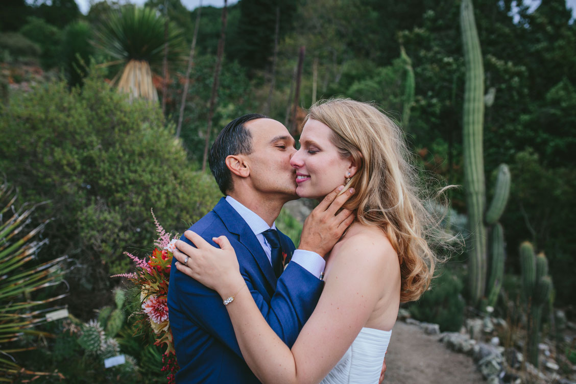 Groom kisses bride's cheek at Berkeley Botanical Garden by Becca Henry Photography