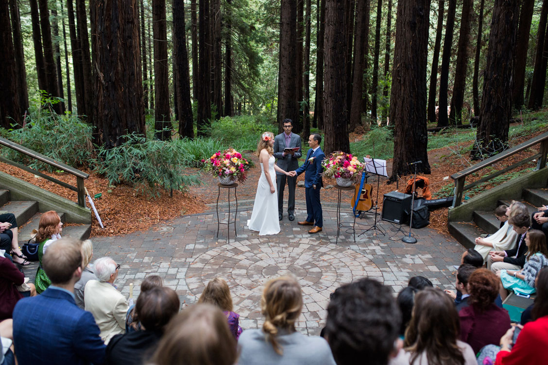 Wedding ceremony in the Redwood Grove in Berkeley Botanical Garden by Becca Henry Photography