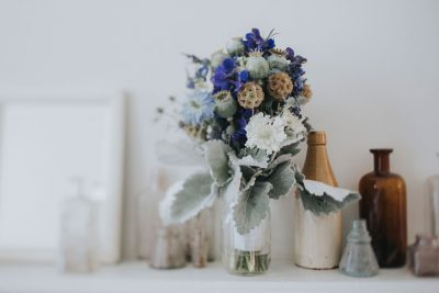Mendocino wedding detail -Delicate bouquet indigo and sage green by Becca Henry Photography