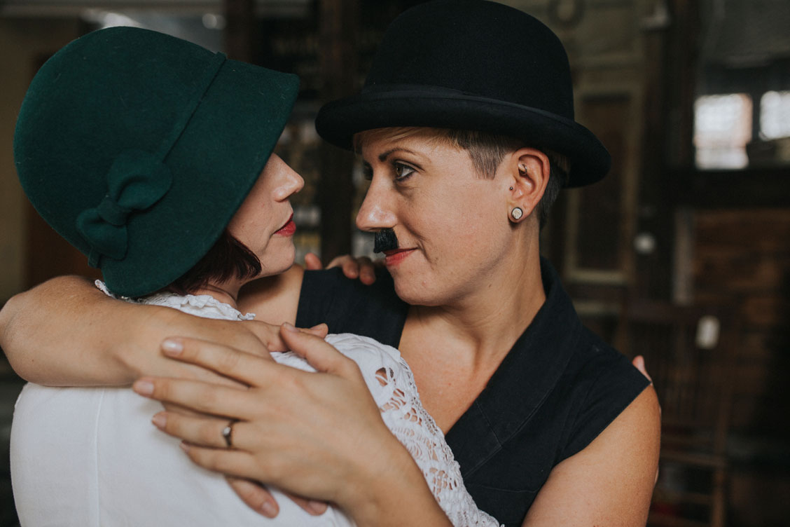 Editorial engagement photography Charlie Chaplin and ingenue at Ohmega Salvage