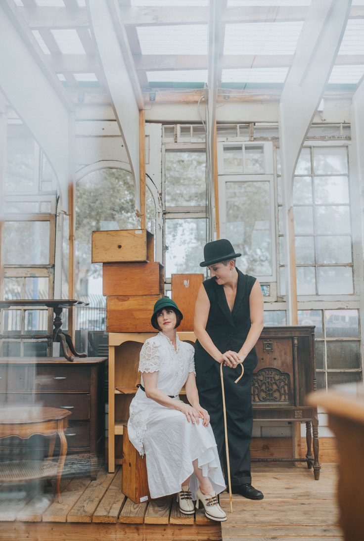 Day after wedding session in Berkeley- dressed as Charlie Chaplin and ingenue by Becca Henry Photography