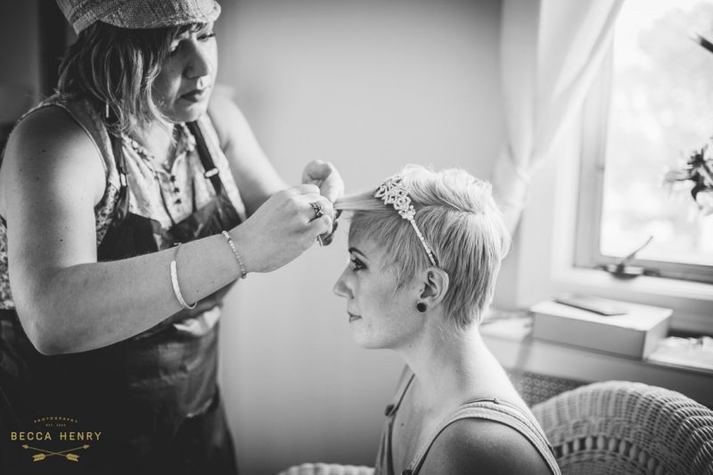 Oakland Bellevue Hotel 1920's Wedding Ceremony- Getting ready by Becca Henry Photography