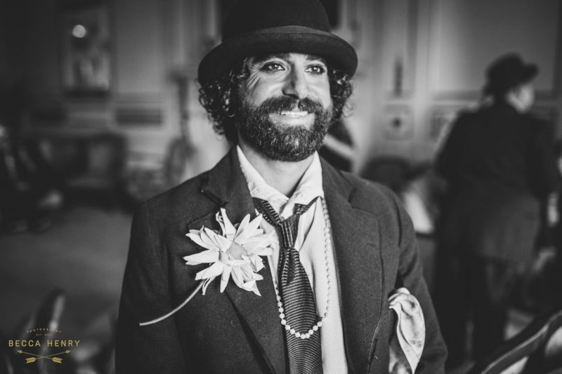 Oakland Bellevue Hotel 1920's Wedding Ceremony- Officiant dressed as Charlie Chaplin by Becca Henry Photography