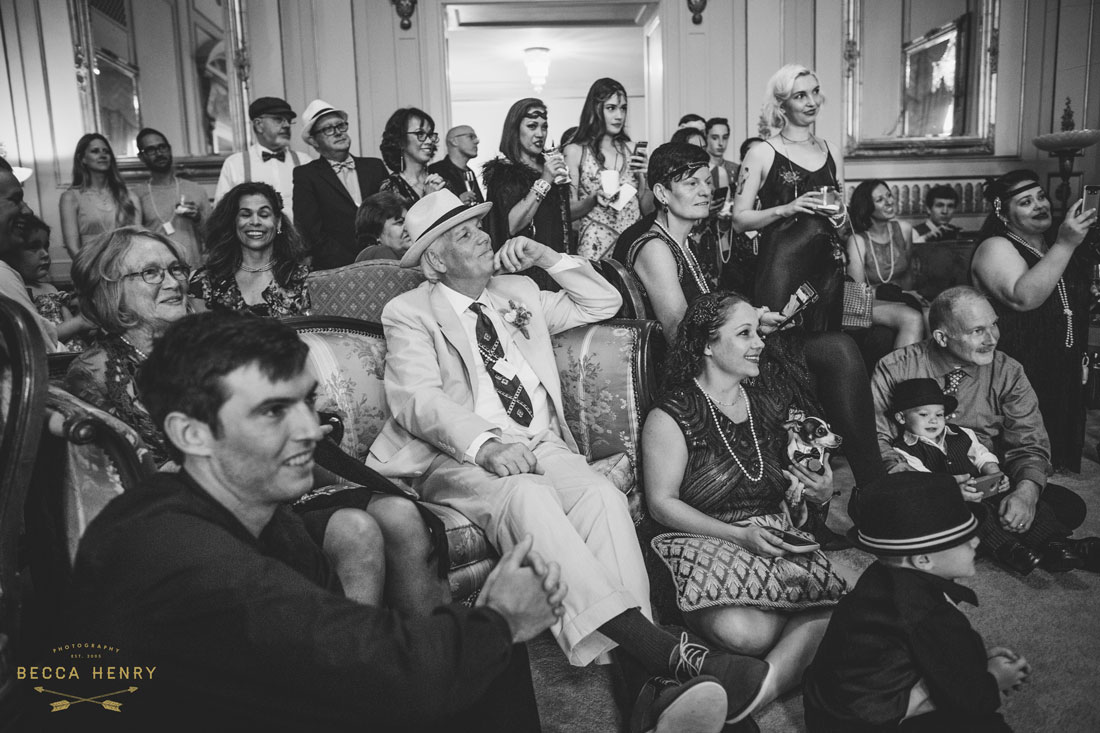 Oakland Bellevue Hotel Wedding Ceremony- friends and family by Becca Henry Photography