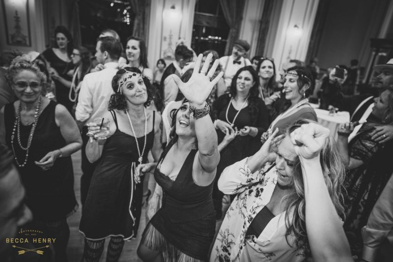 Wedding reception sing- along at the Wedding reception dancing at the Oakland Bellevue Hotel by Becca Henry Photography