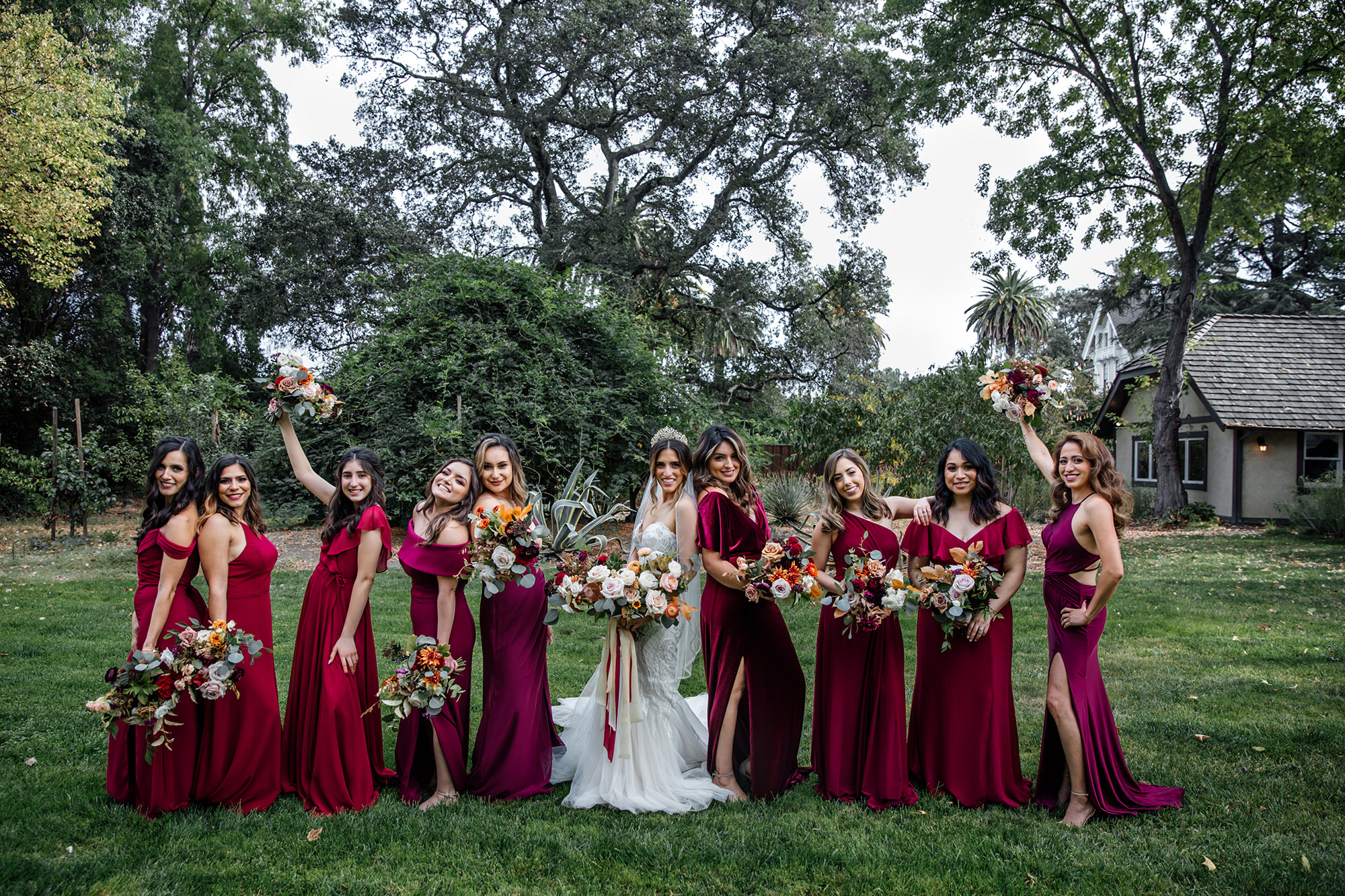 Bride with bridal party at Harvest Inn in St Helena.