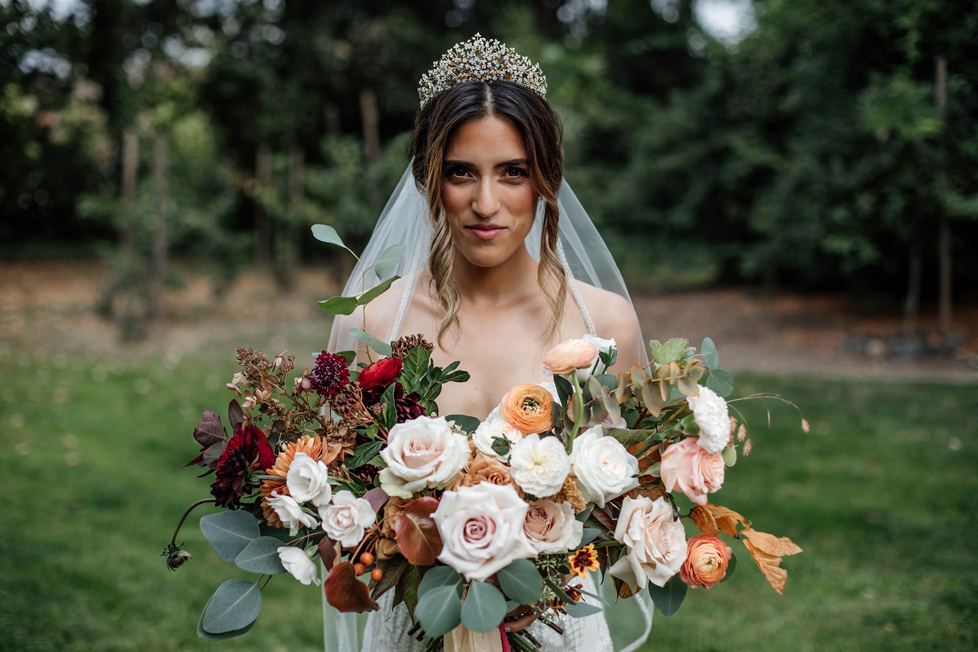 Beautiful bride with gorgeous bouquet at Nap a Valley Wedding.