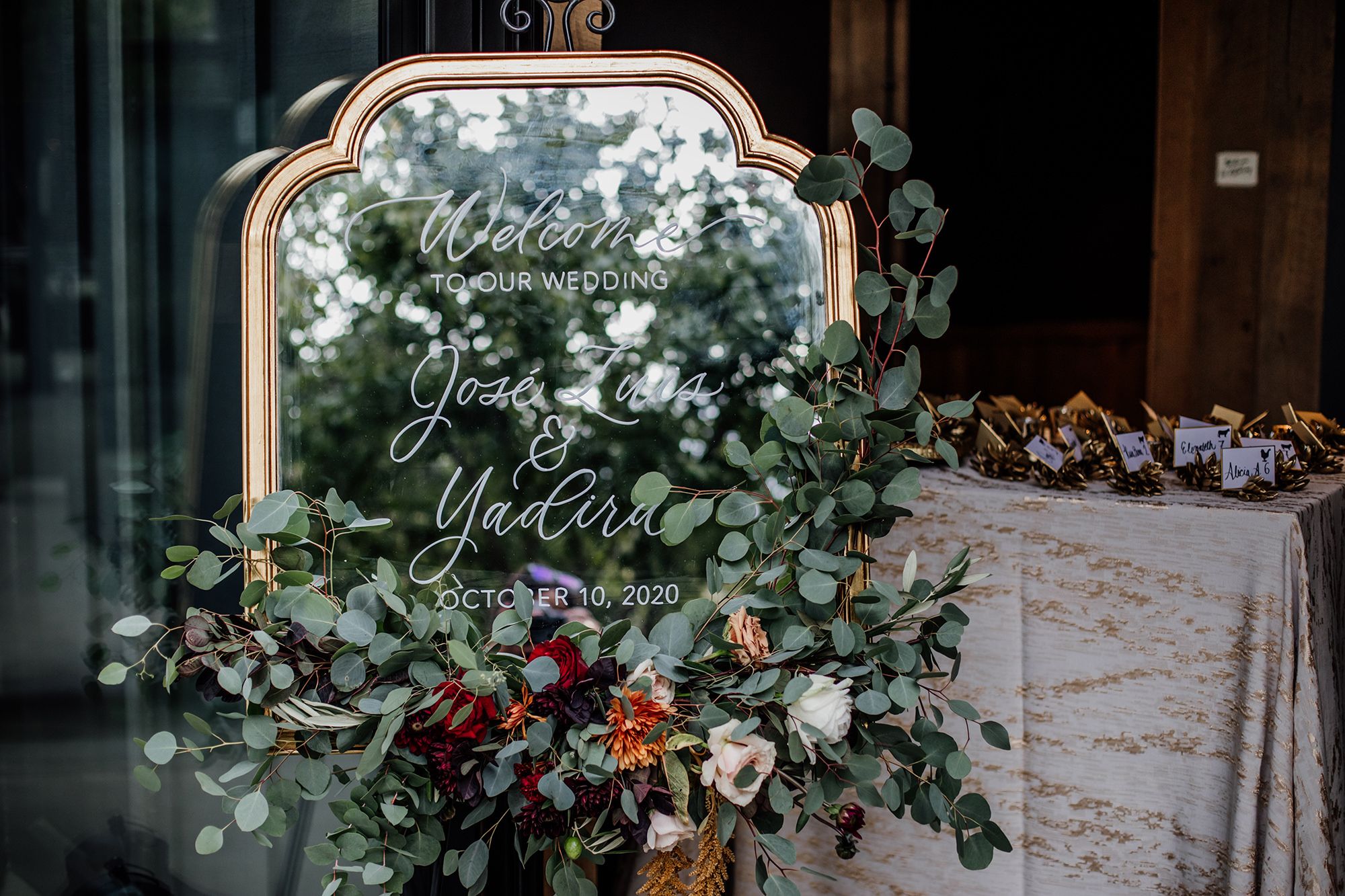 Floral arrangements and signage at Brasswood in Calistoga