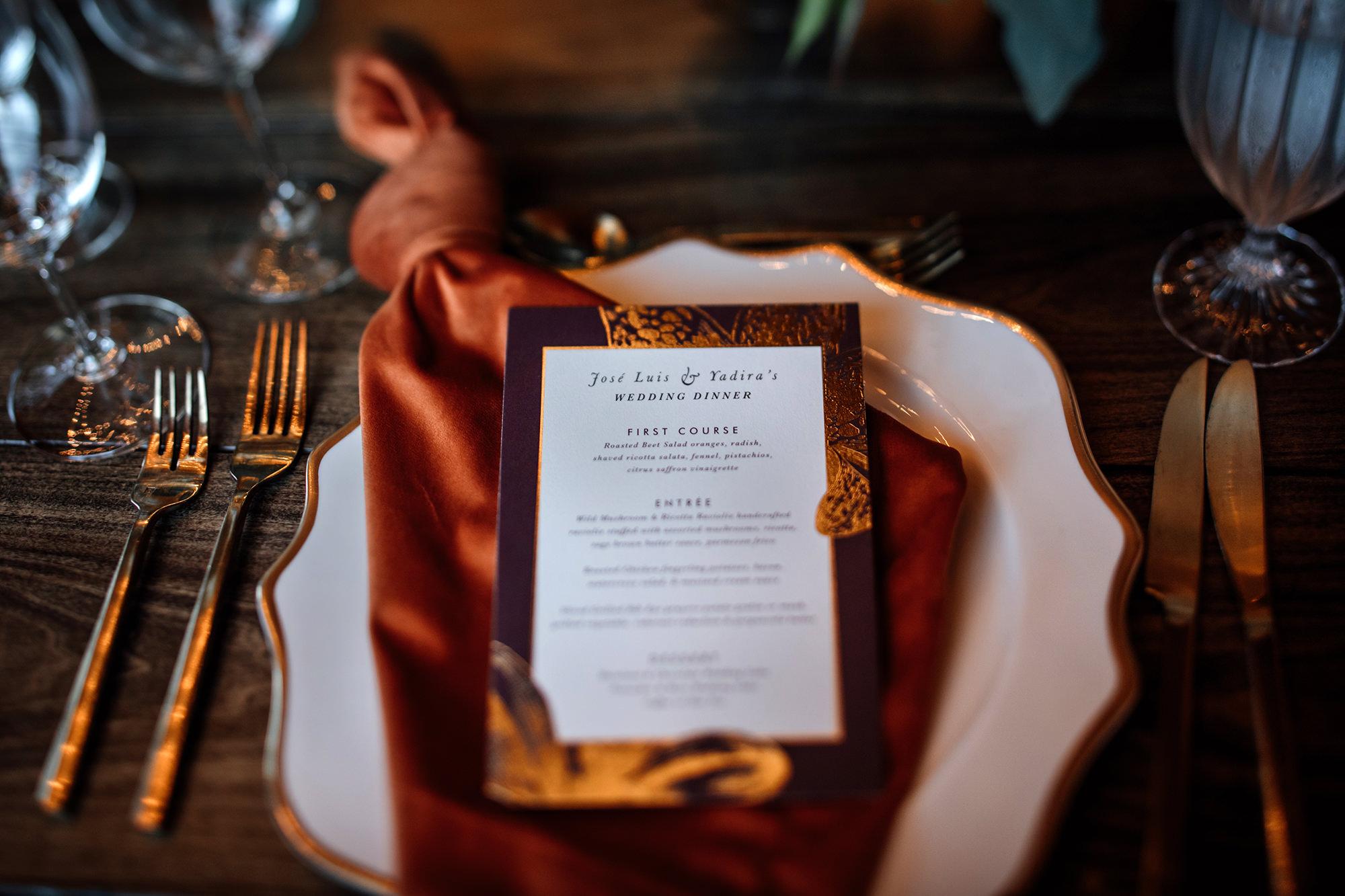 Wedding menu for Brasswood wedding reception in Calistoga.