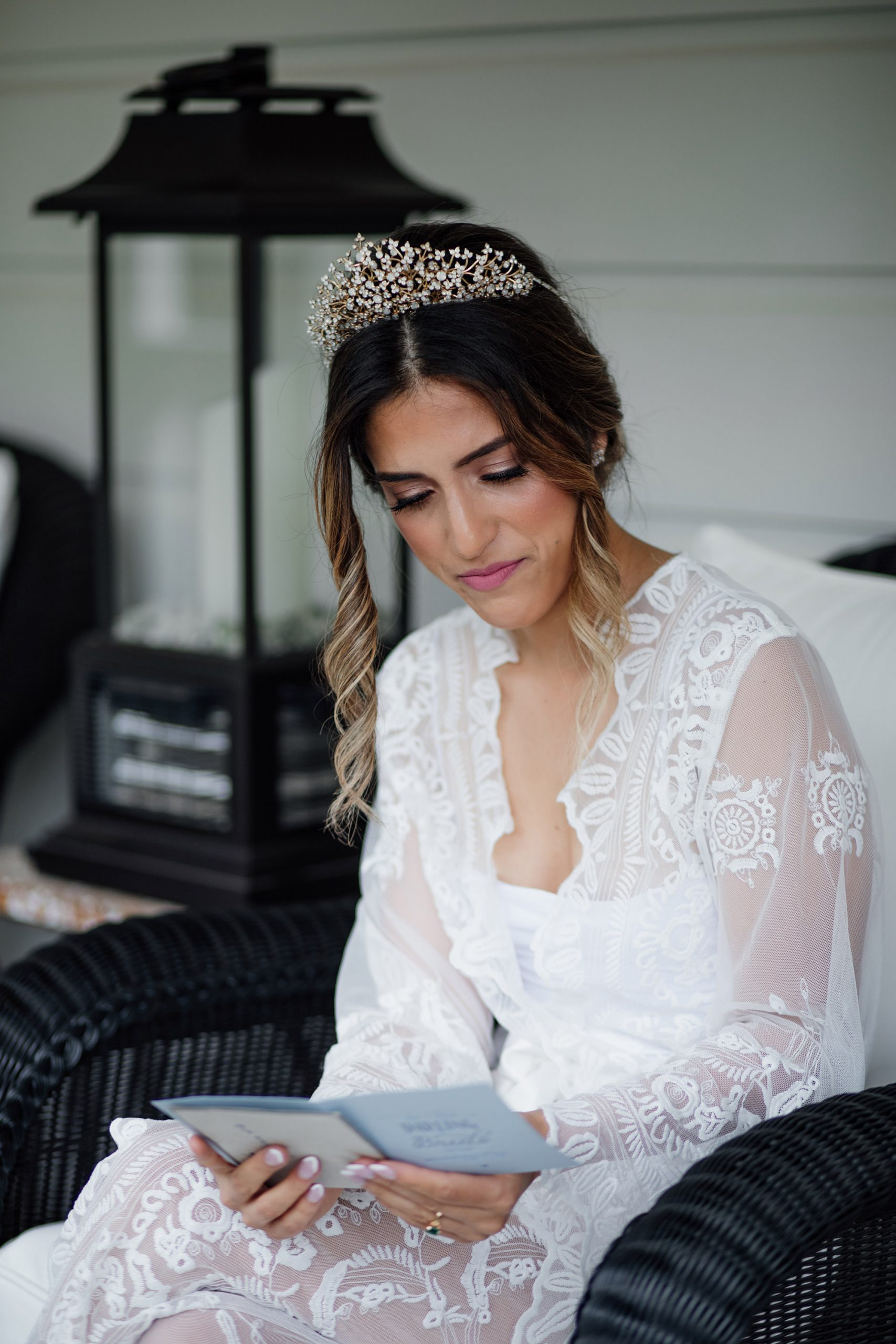 Bride reading letter from groom.