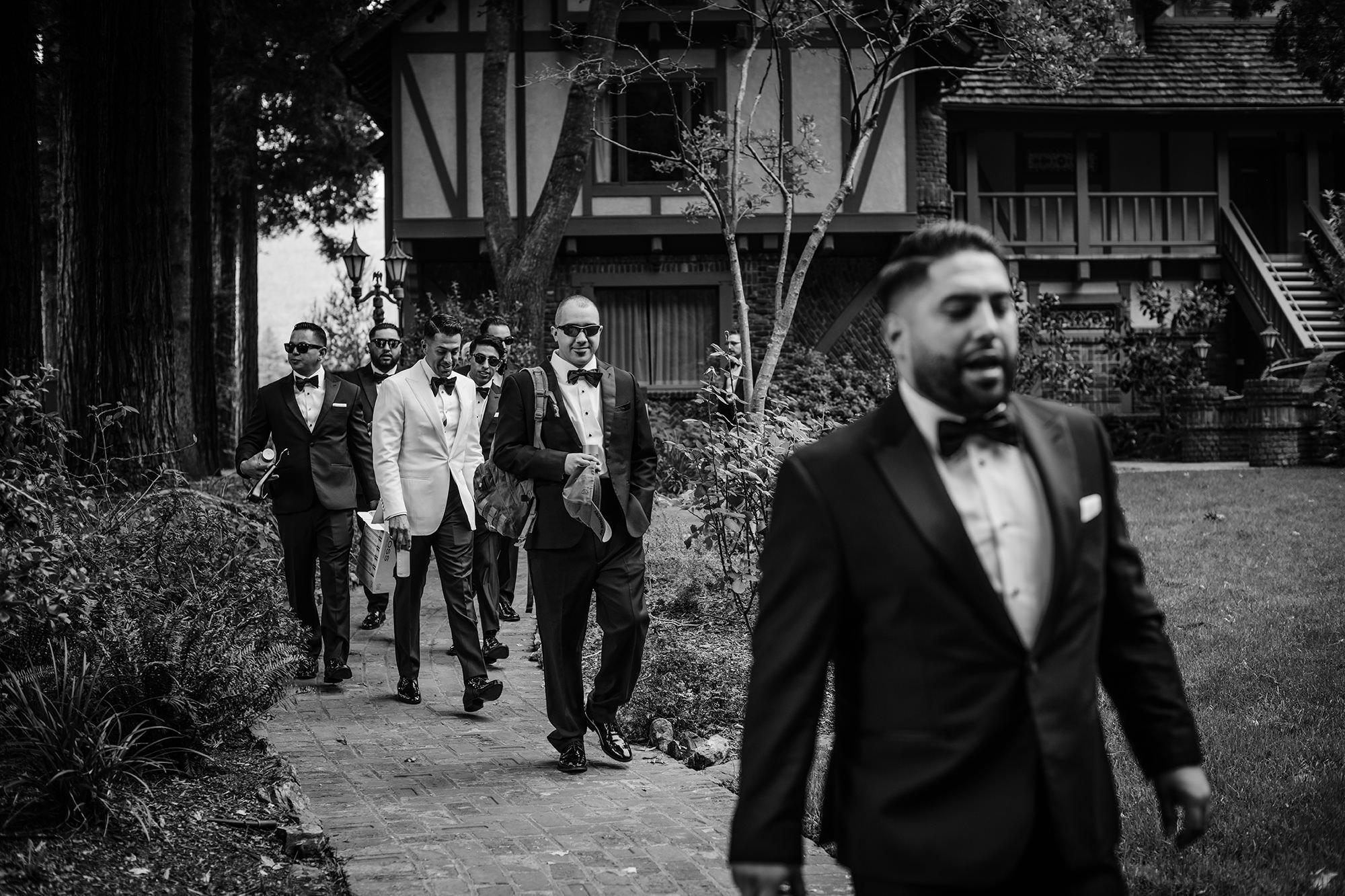 Groom's wedding party leaving Harvest Inn.