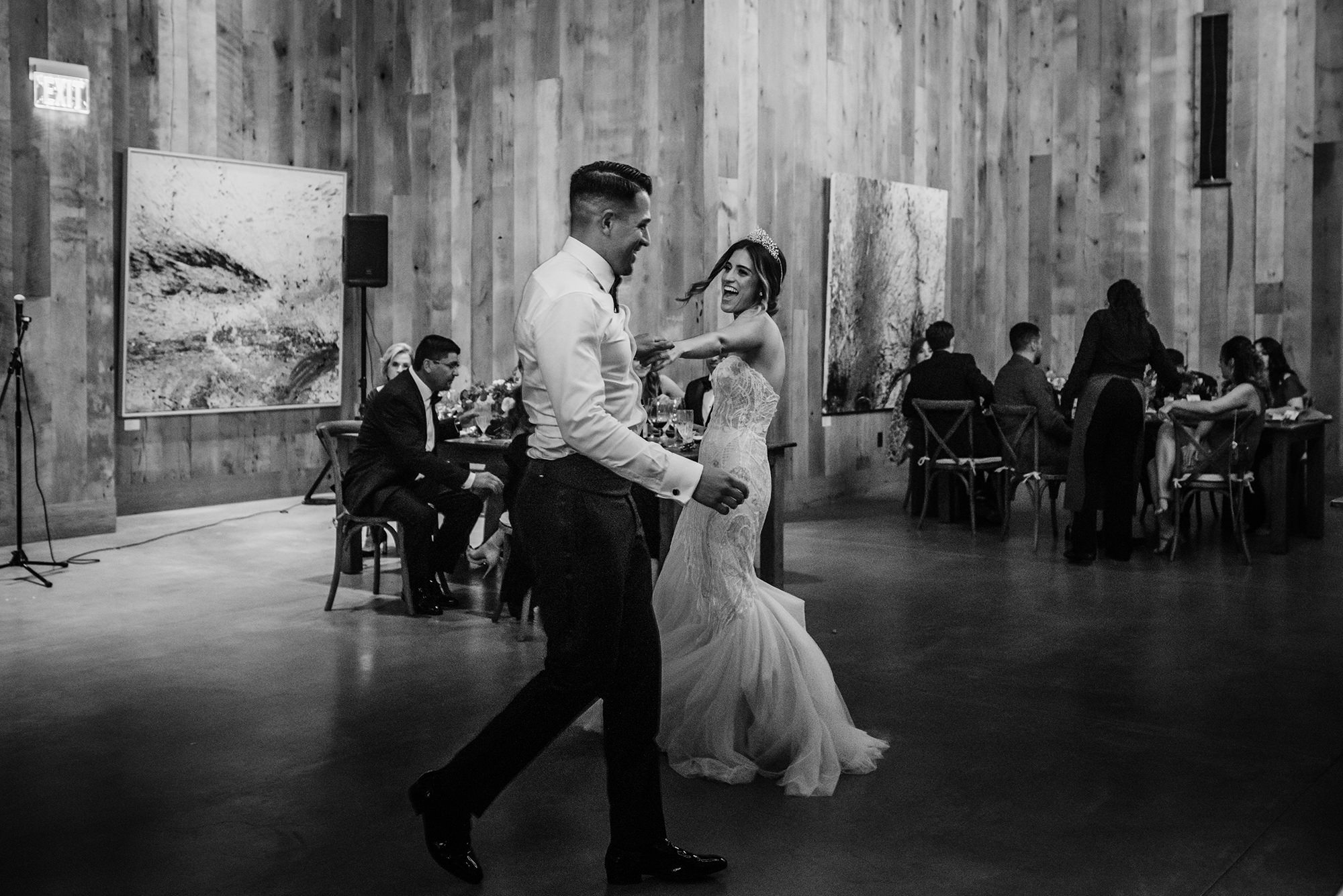 Bride and groom dancing the night away at wedding reception at Brasswood.