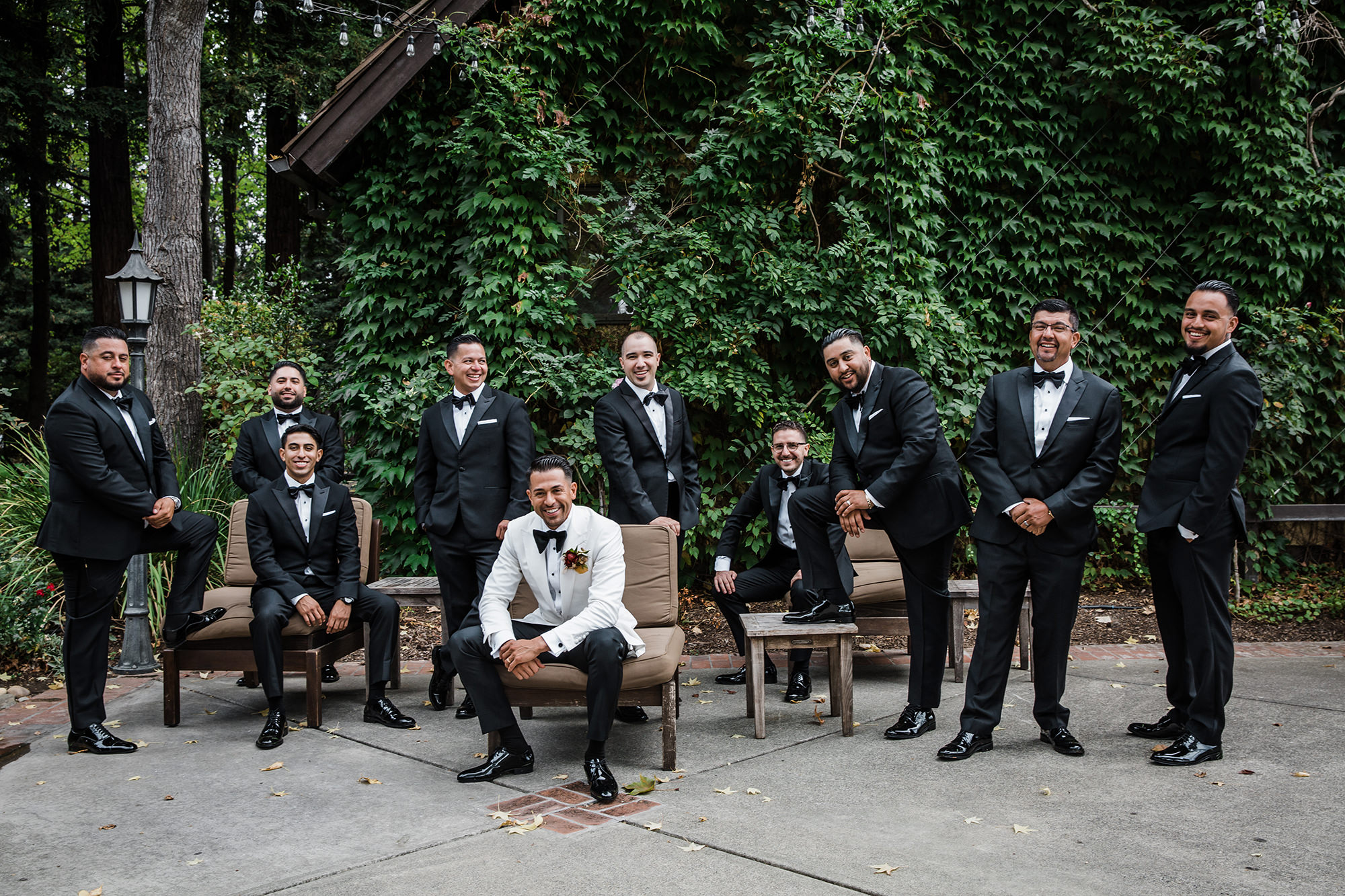Groom with his wedding crew at Harvest Inn in St Helena.
