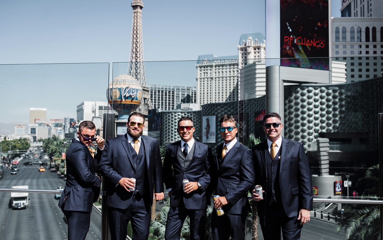 Groomsmen in downtown Las Vegas Wedding. Red Rock Wedding. Becca Henry Photography .