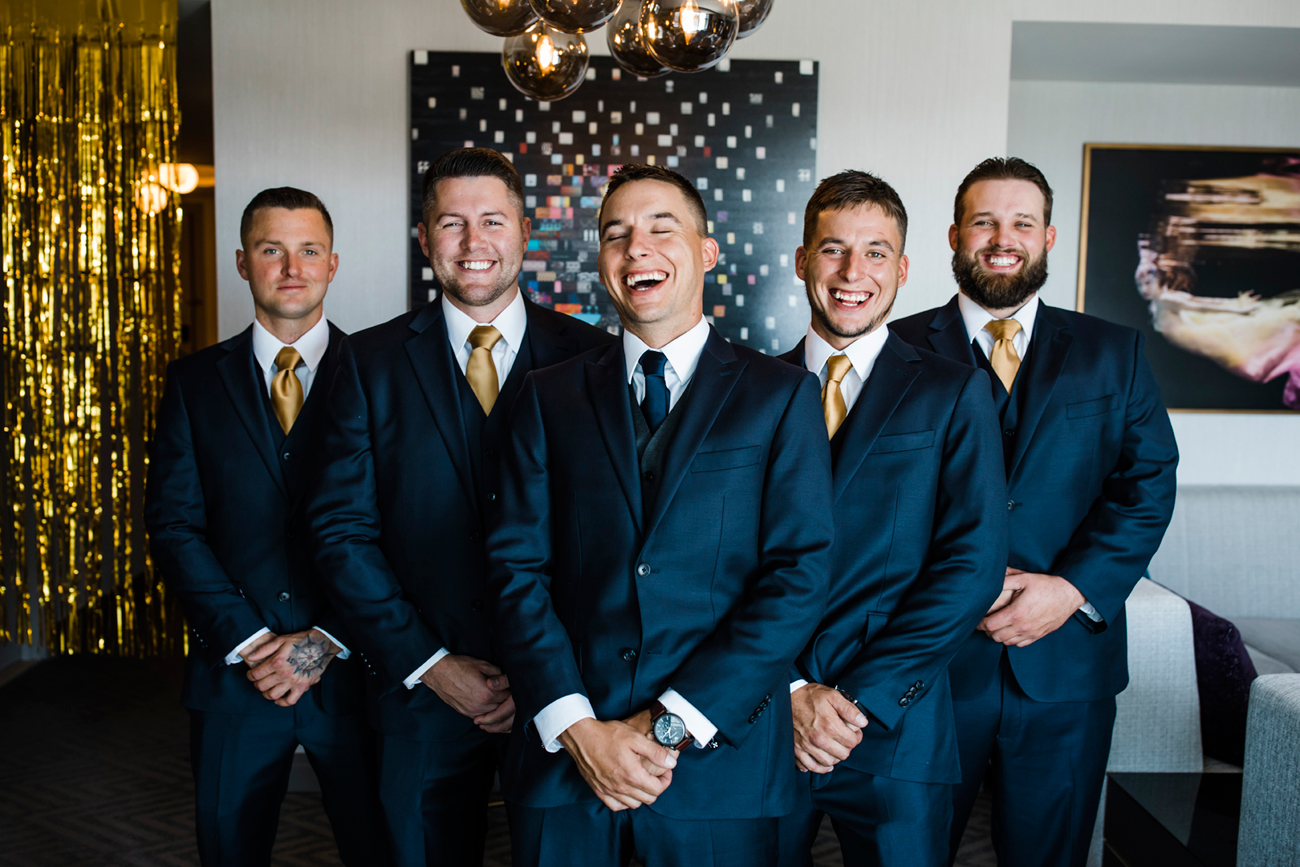Groomsmen portrait at Cosmopolitan Hotel. Las Vegas Wedding. Red Rock Wedding . Becca Henry Photography .