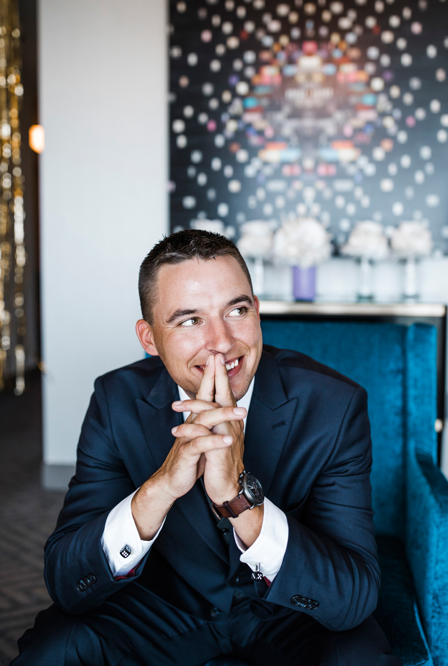 Groom portrait in the Cosmopolitan Hotel. Las Vegas Wedding. Red Rock Wedding . Becca Henry Photography .