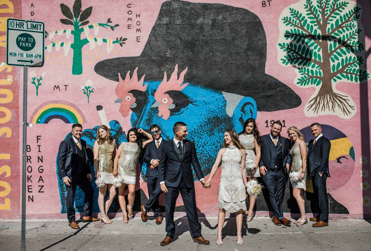 Las Vegas Wedding. Red Rock Wedding . Becca Henry Photography . Bridal party photos with mural in old Vegas
