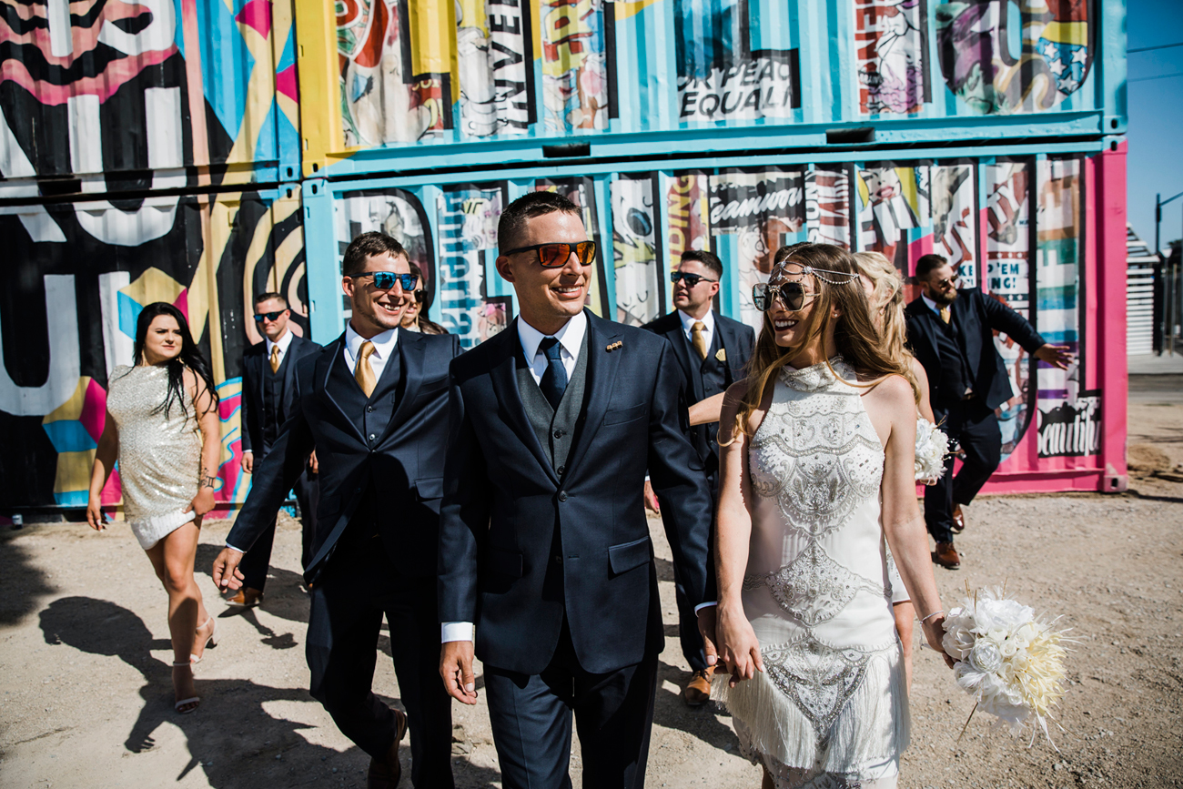 Las Vegas Wedding. Red Rock Wedding . Becca Henry Photography . Bridal party photos in old Vegas
